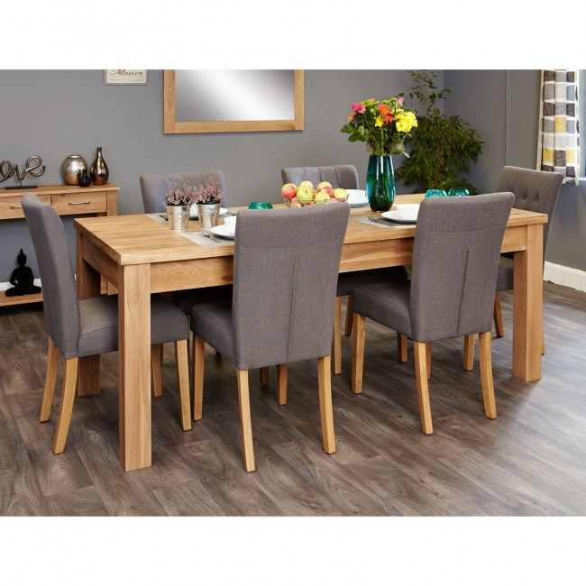 Nara Solid Oak Furniture Extending Dining Table And Six Slate Chairs Set EBay