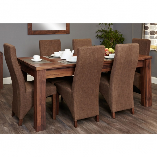walnut furniture extending dining table and six hazelnut chairs set