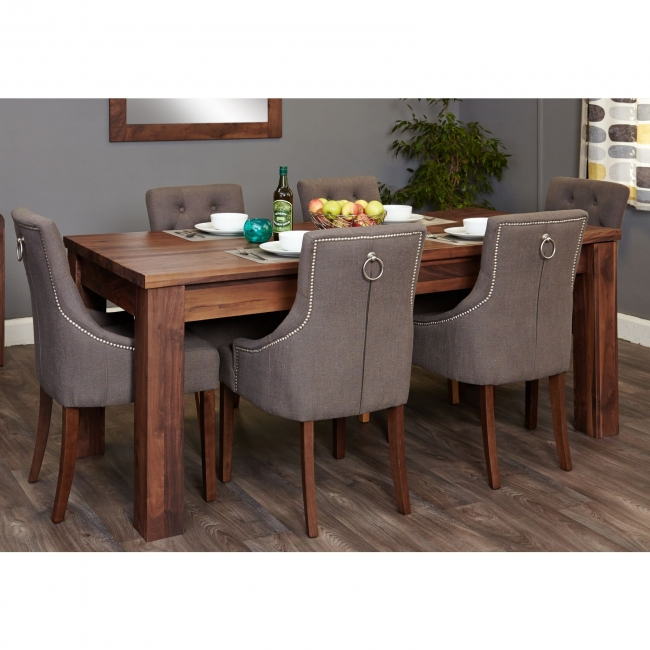 walnut furniture extending dining table and six luxury chairs set