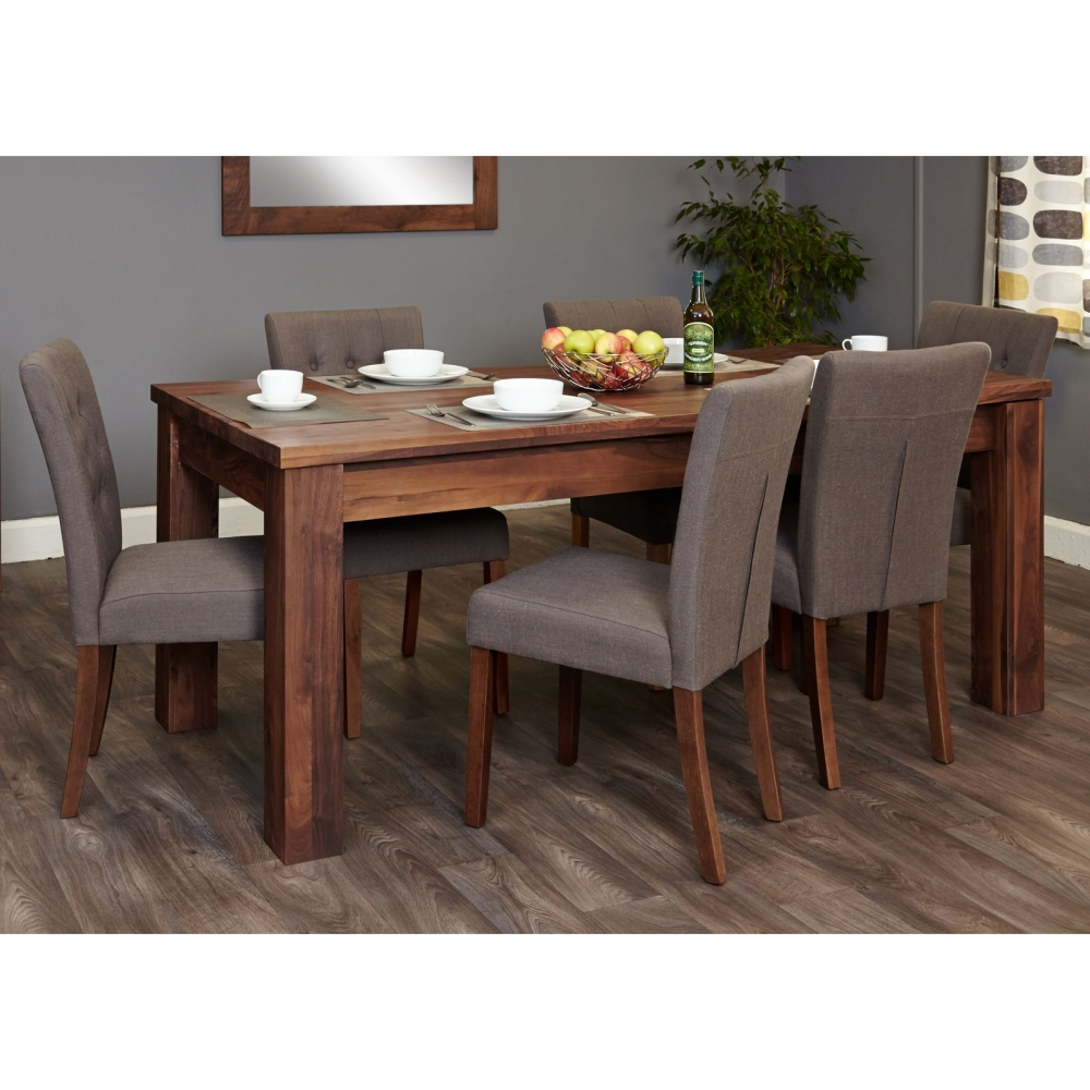 mayan dark wood walnut furniture extending dining table and six slate