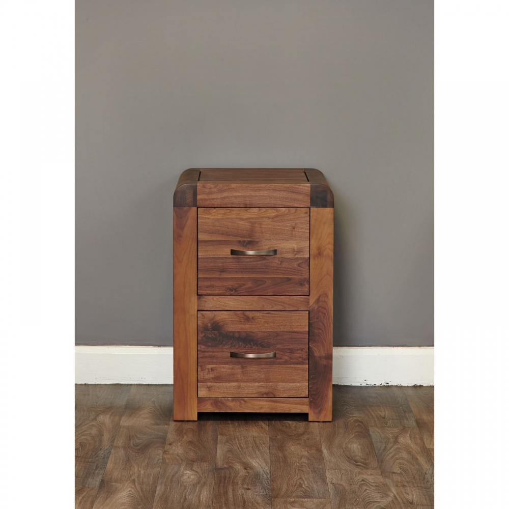 Inca Solid Walnut Dark Wood Furniture Small Two Drawer