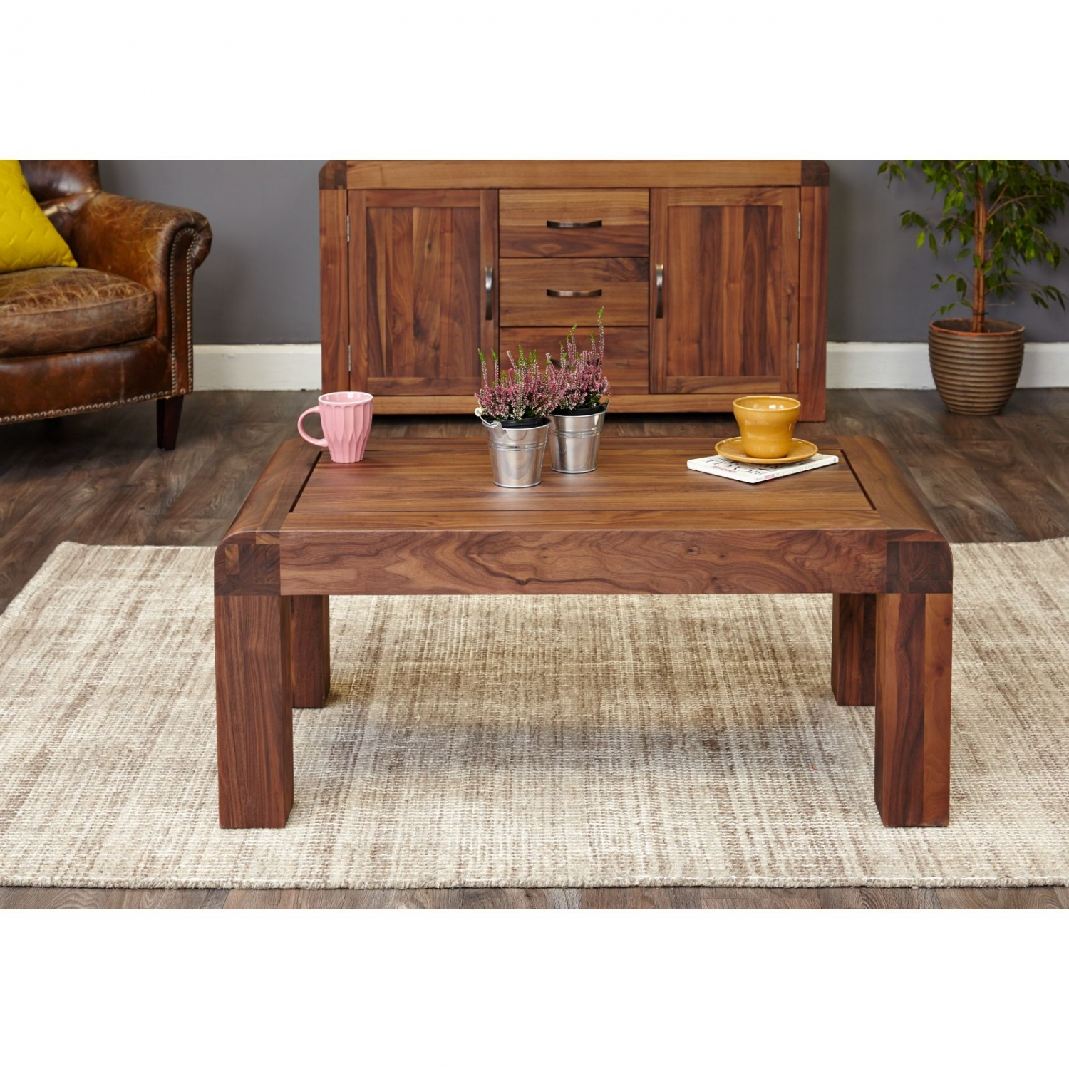Shiro Dark Wood Solid Walnut Modern Living Room Furniture Open Coffee Table Ebay