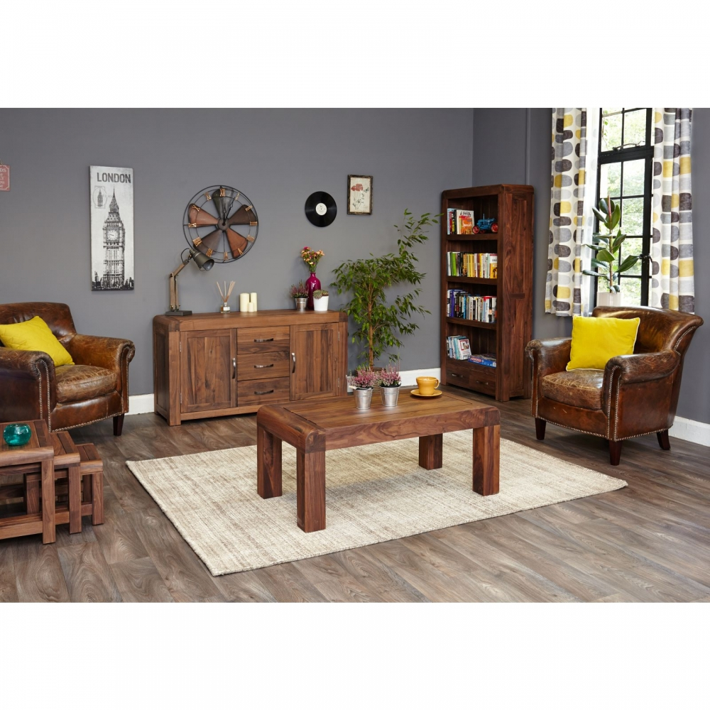 Inca Dark Wood Solid Walnut Living Room Furniture Open Coffee Table Ebay