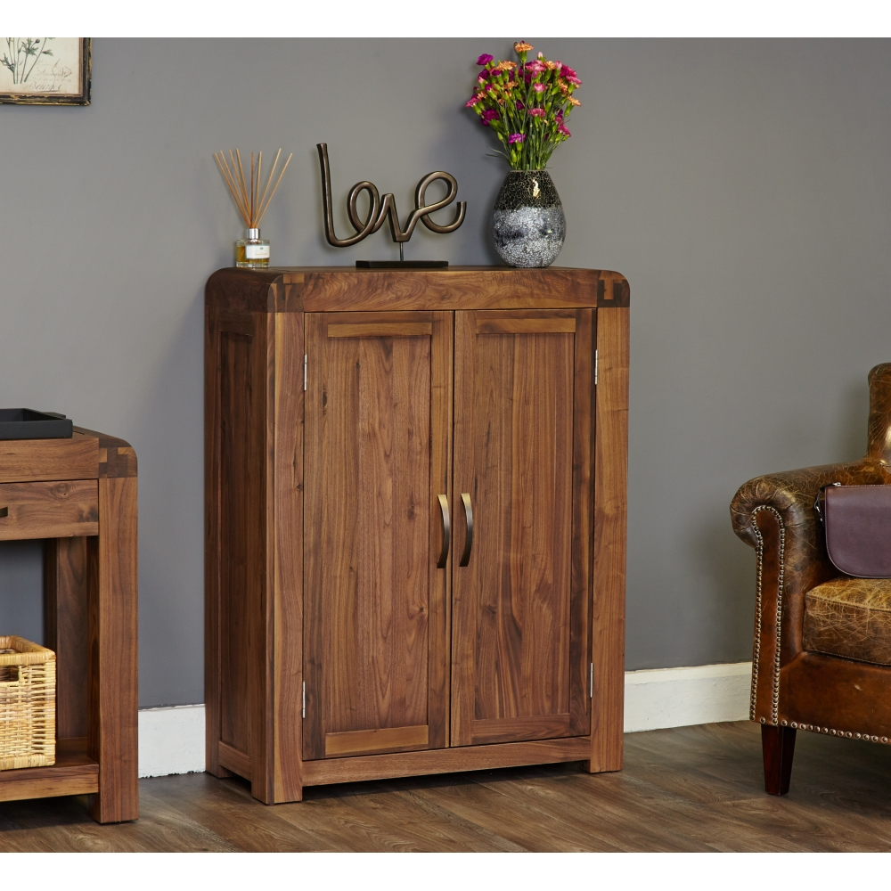 Inca solid walnut dark wood furniture shoe storage cabinet