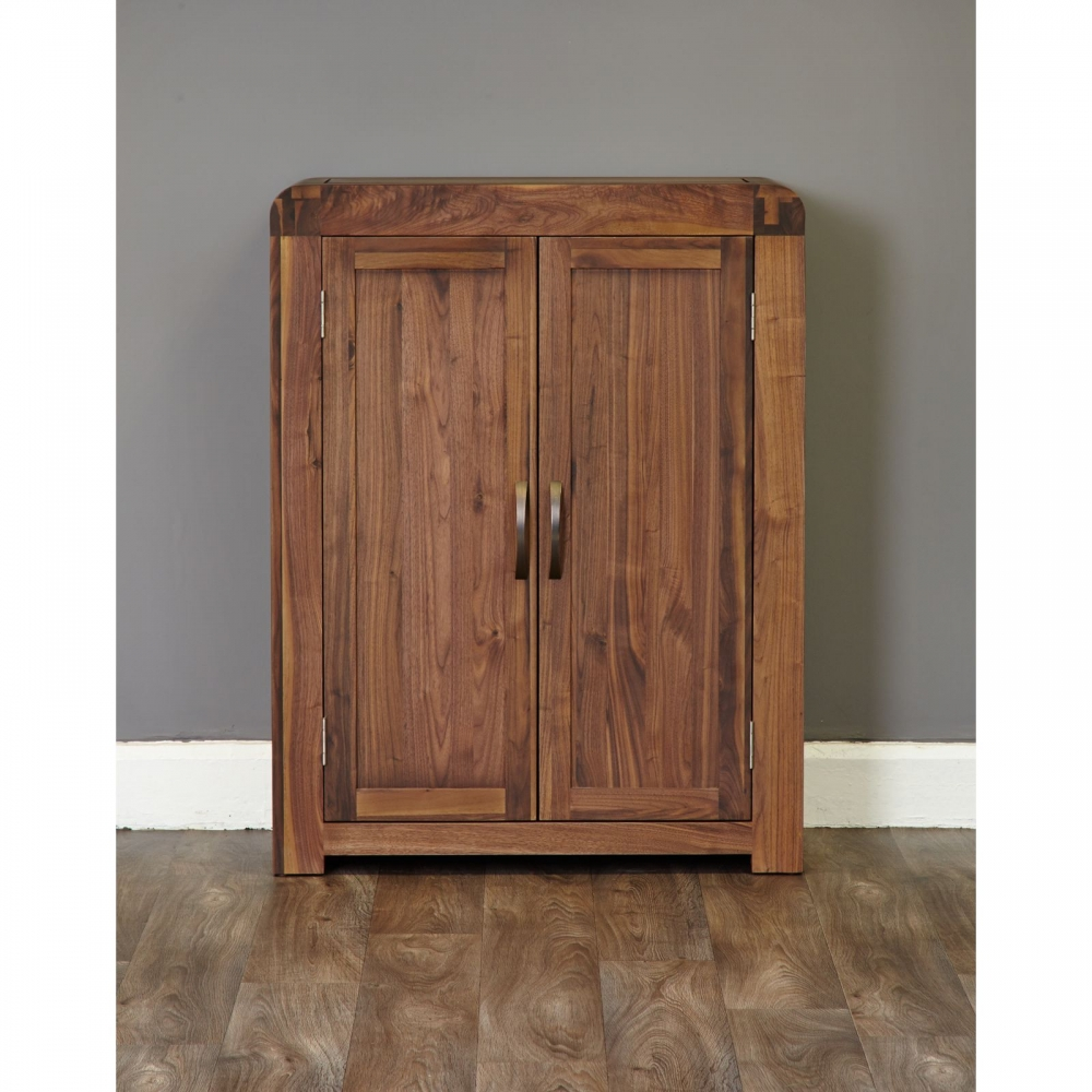 Inca solid walnut dark wood furniture shoe storage cabinet for Dark wood furniture