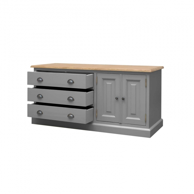 Mottisfont grey painted pine furniture long low chest of ...