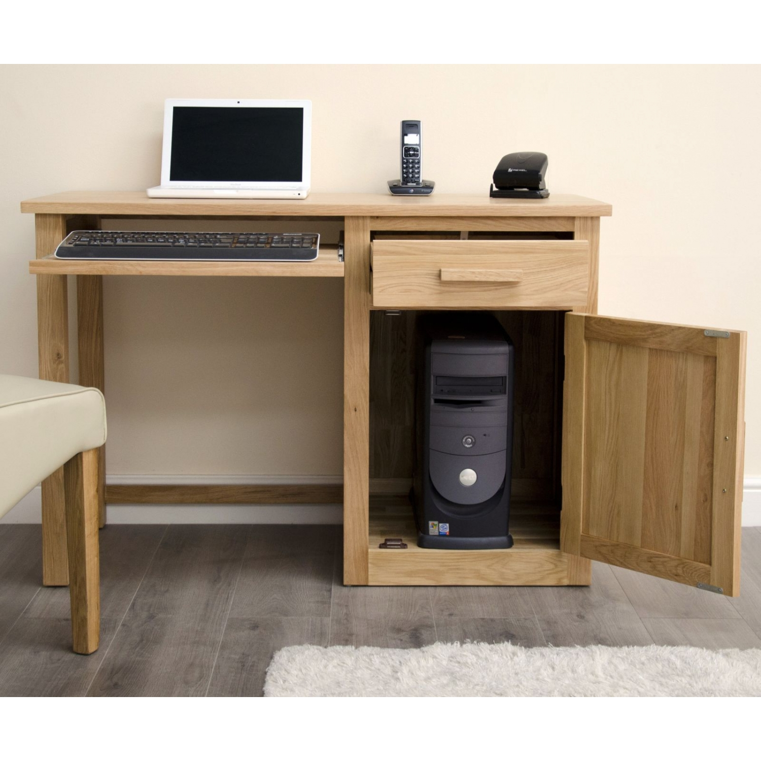 arden small office pc computer desk solid oak furniture