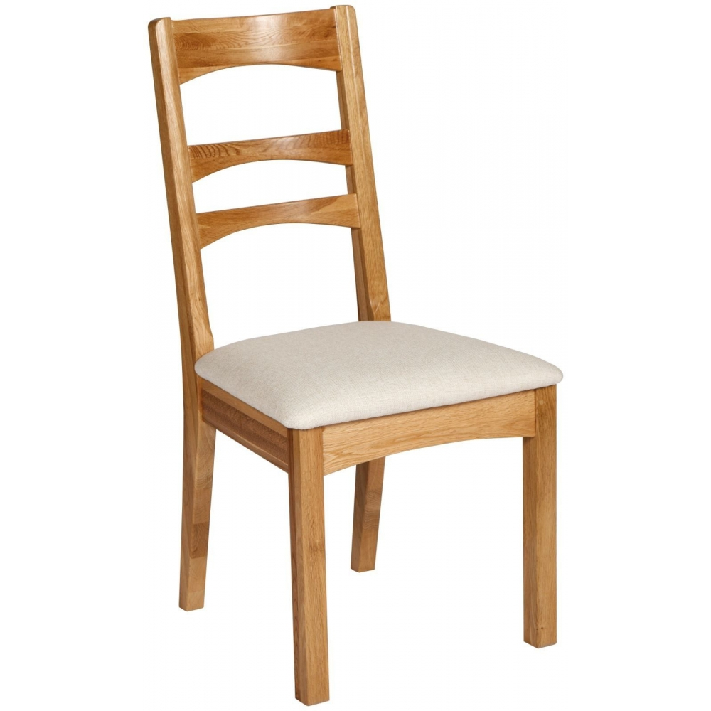 Solid Oak Furniture Set Of Two Cream Seat Dining Room Chairs EBay