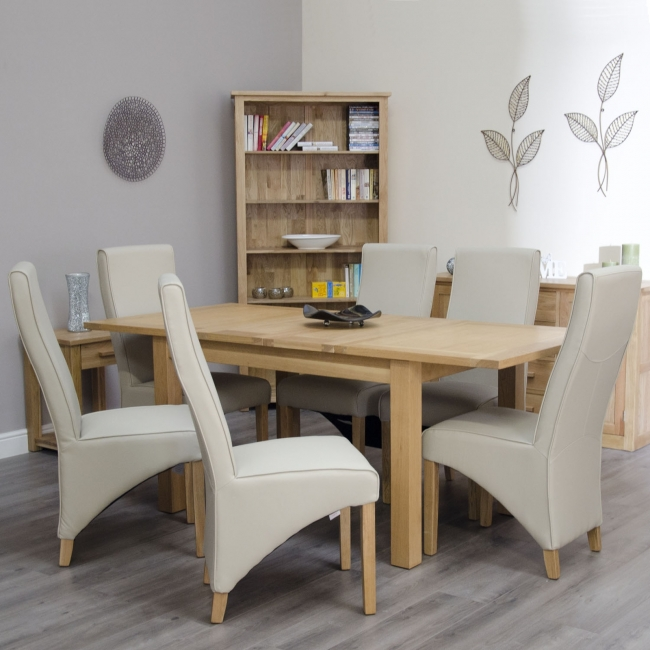 about arden solid oak furniture dining table with six cream chairs set