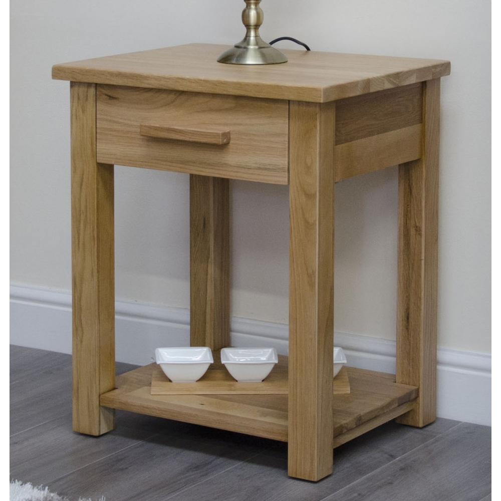 Arden solid contemporary oak furniture storage side end lamp table ebay - Contemporary side tables with storage ...