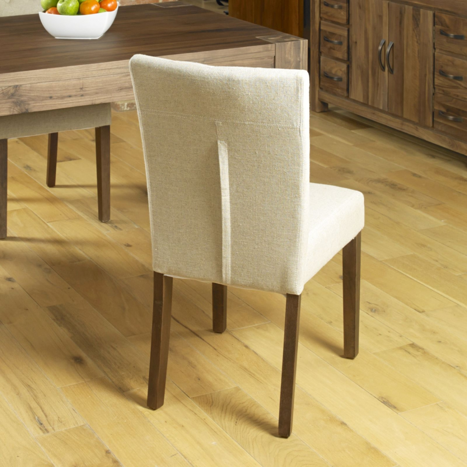 Linea Solid Dark Wood Walnut Furniture Set Of Two Flare Back Dining Chairs Ebay
