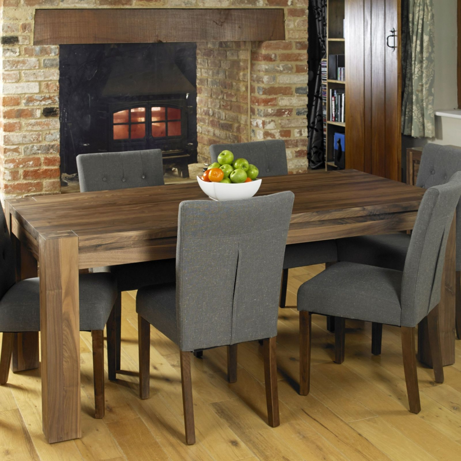 Strathmore solid walnut home dining room furniture six for Dining room tables 6 seater