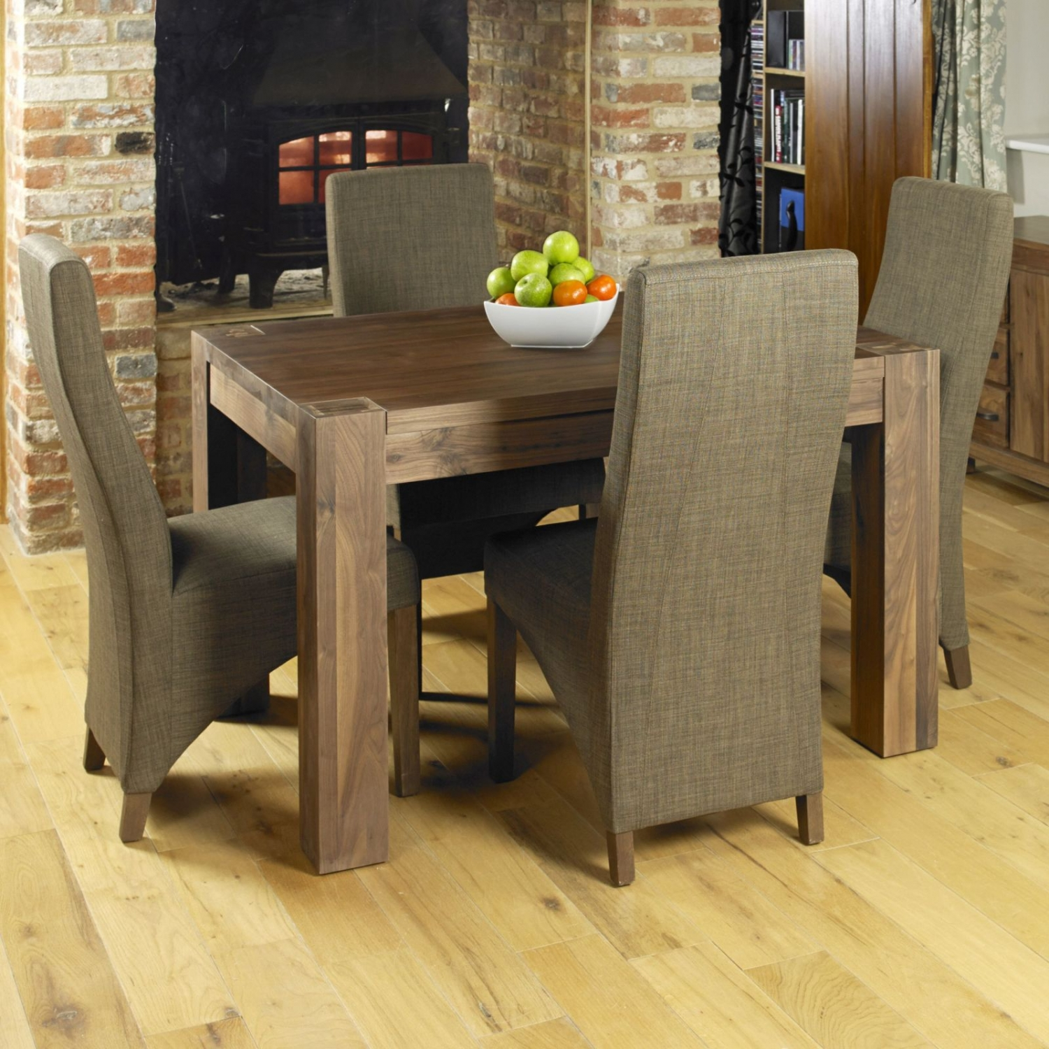 linea solid walnut dark wood furniture dining table and four chairs