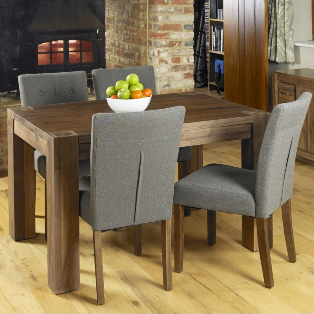 solid walnut dark wood modern furniture dining table and four chairs