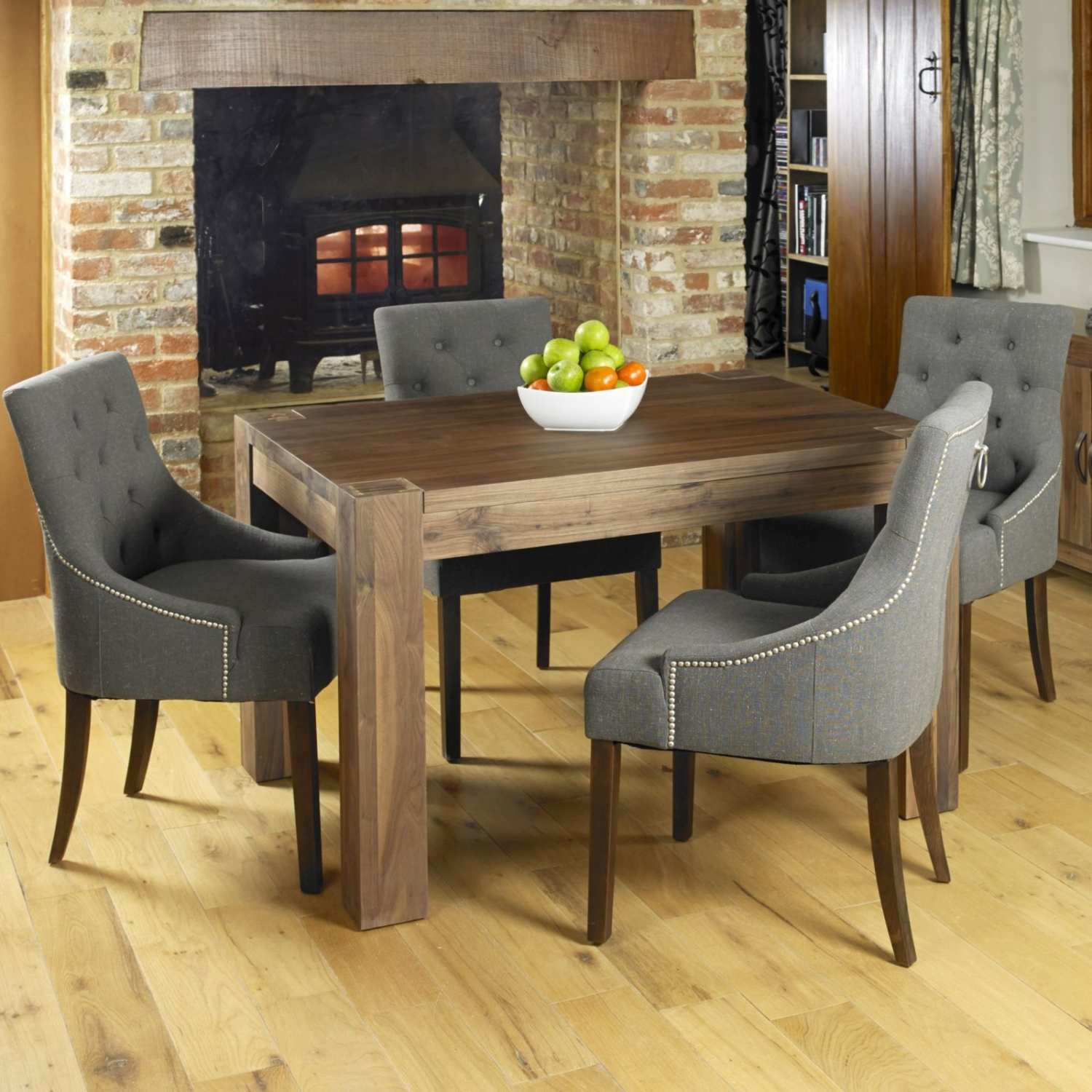Linea Walnut Dark Wood Modern Furniture Dining Table And Four Chairs Set EBay