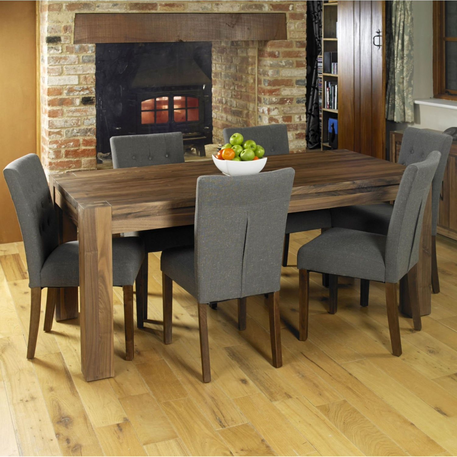 linea walnut dark wood furniture large dining table and six chairs set