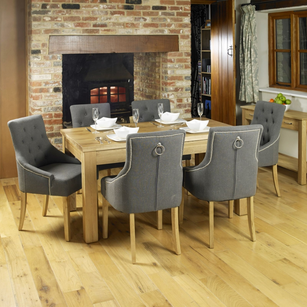 Luxurious Dining Room Sets: Mobel Solid Oak Furniture Set Of Two Flare Back Luxury