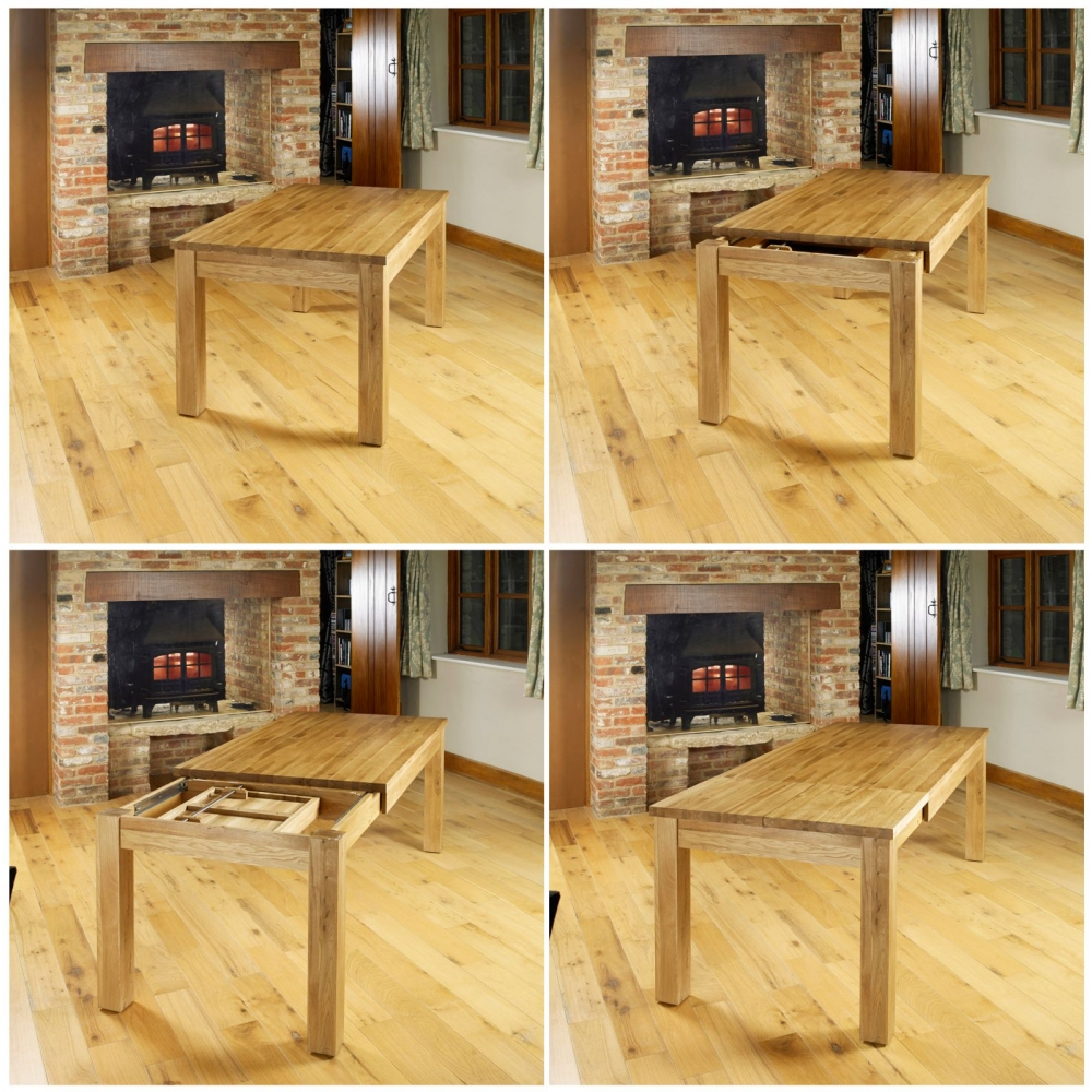mobel solid oak furniture large extending dining room table ebay