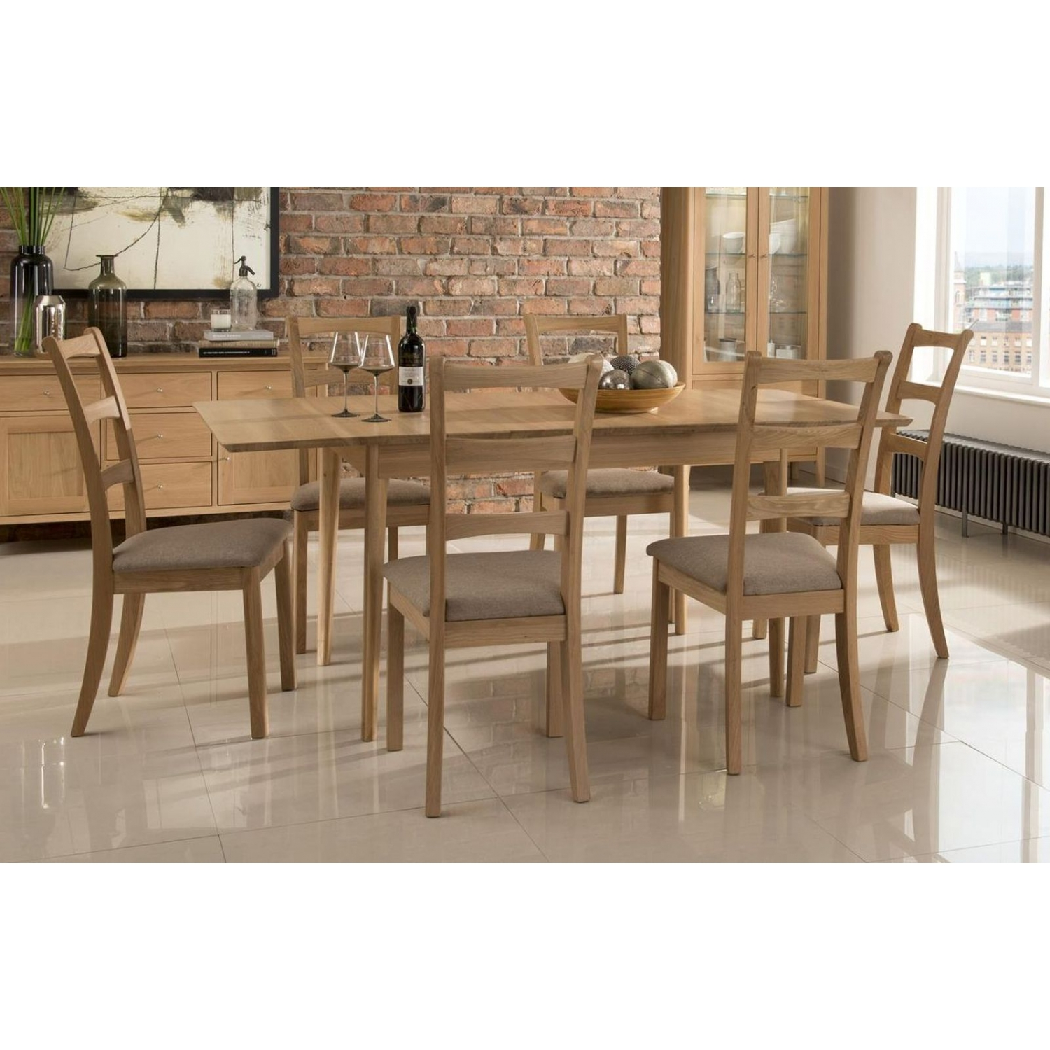 kemble solid oak furniture large extending dining table and six chairs