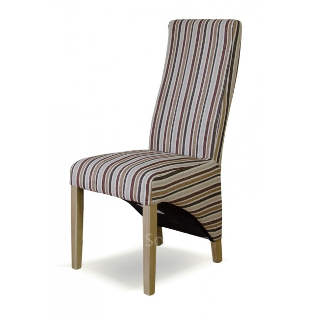 Gallardo Solid Oak Set Of Four Striped Multi Colour Fabric Dining Room Chairs