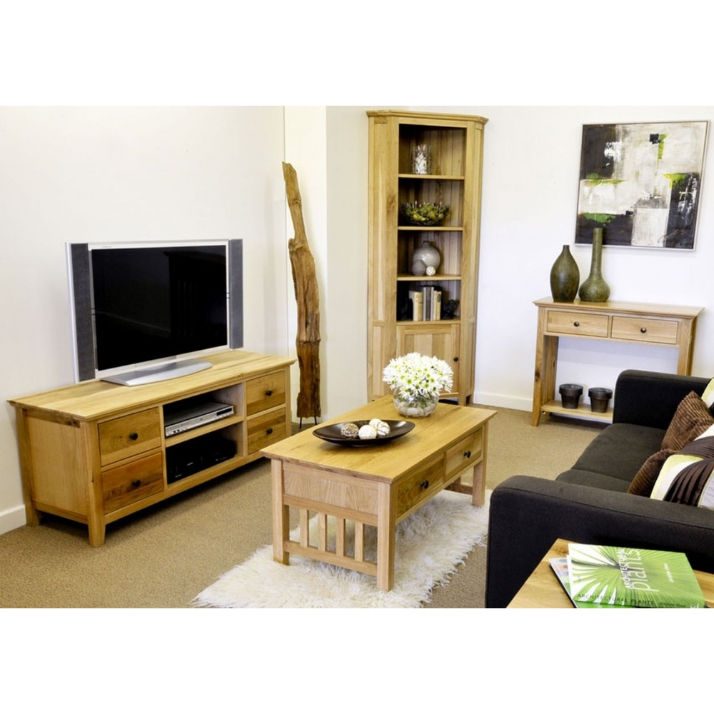 solid oak living room furniture large widescreen tv cabinet ebay