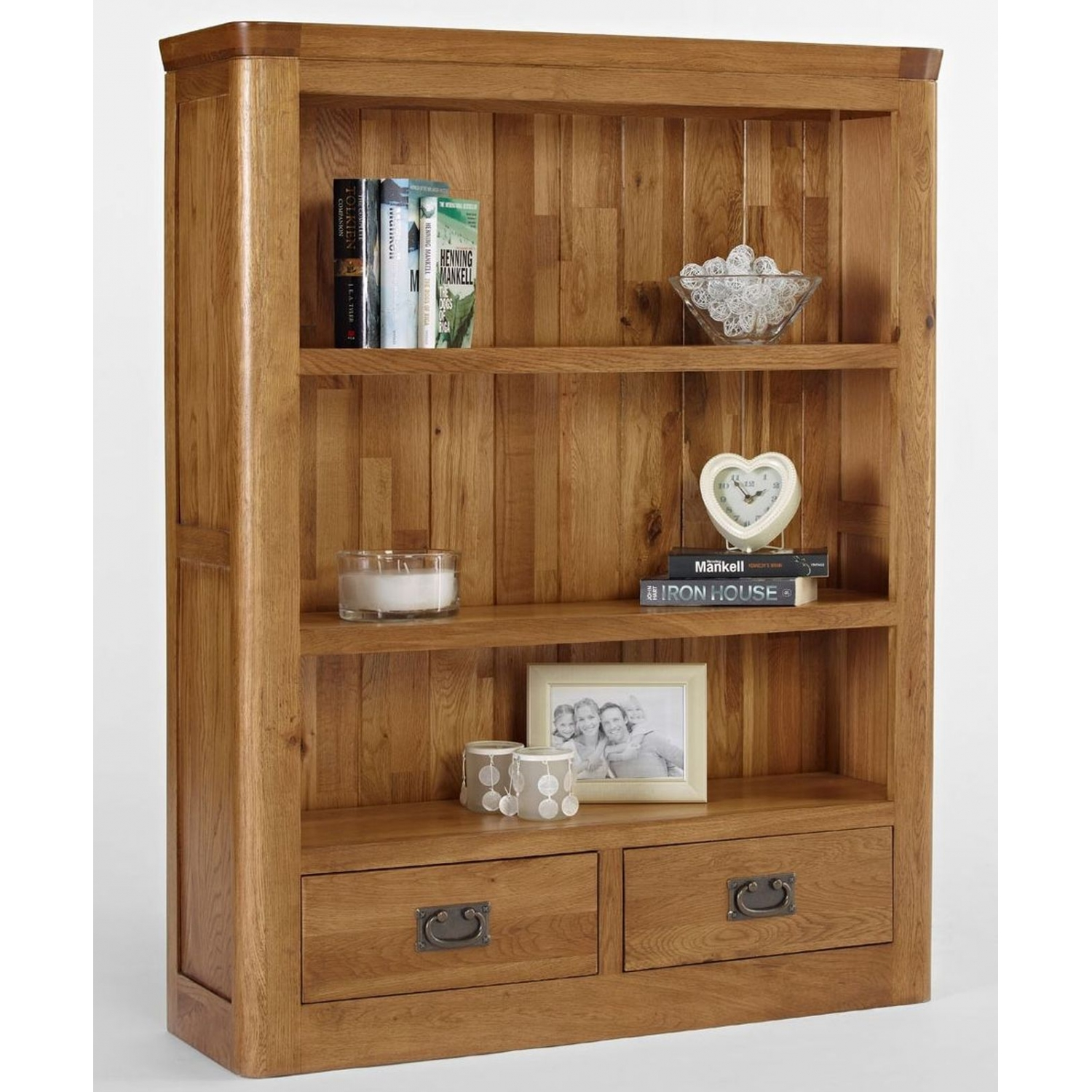 Artisan solid oak bedroom furniture small bookcase with for Small bedroom bookcase