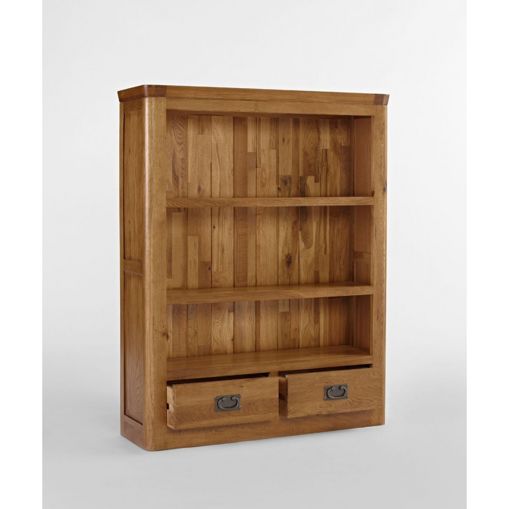 Dover solid oak bedroom furniture small bookcase with two for Solid oak bedroom furniture