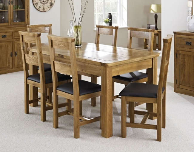 Dalmore Solid Oak Bedroom Furniture Extending Dining Table And Six Chairs Set