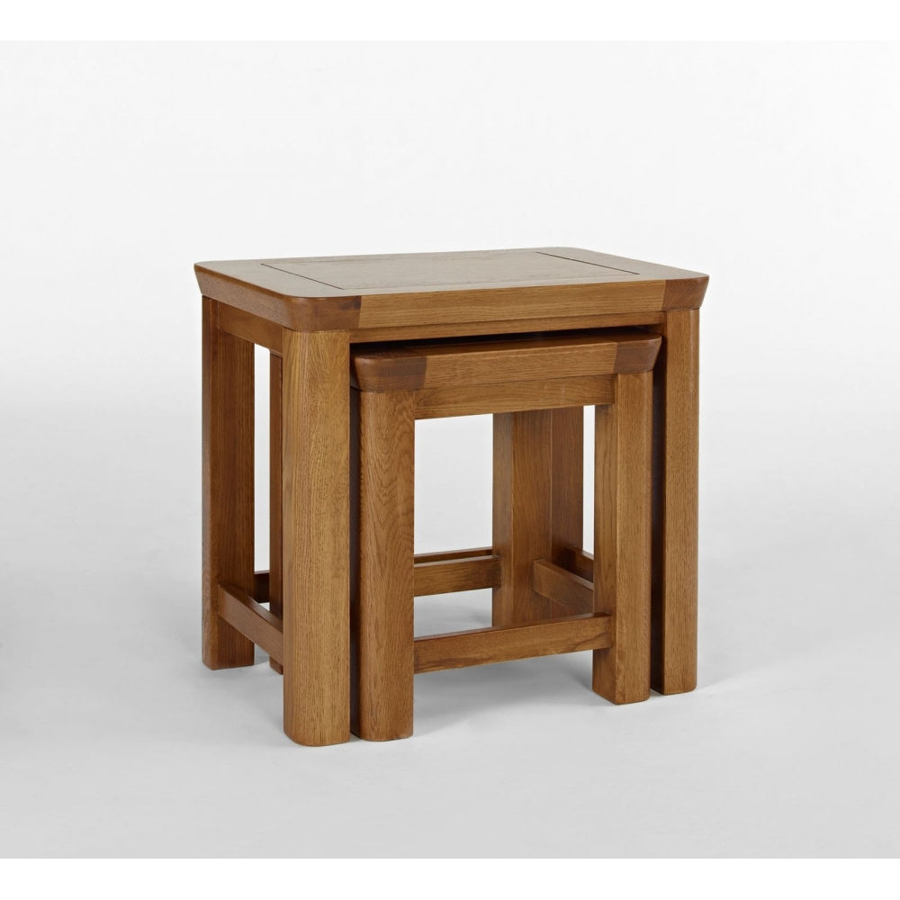 Dover Solid Oak Bedroom Furniture Nest Of Three Coffee Tables Set Ebay