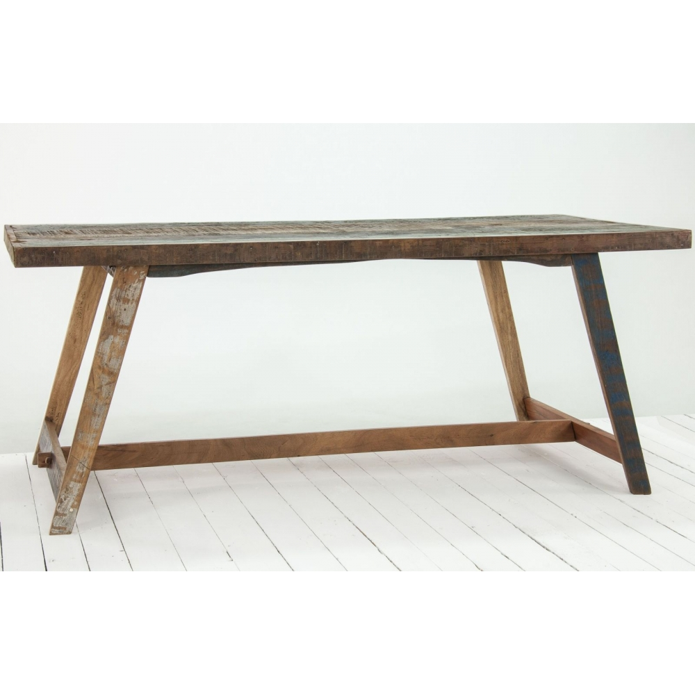 Driftwood reclaimed wood dining room furniture dining table for Reclaimed dining room table