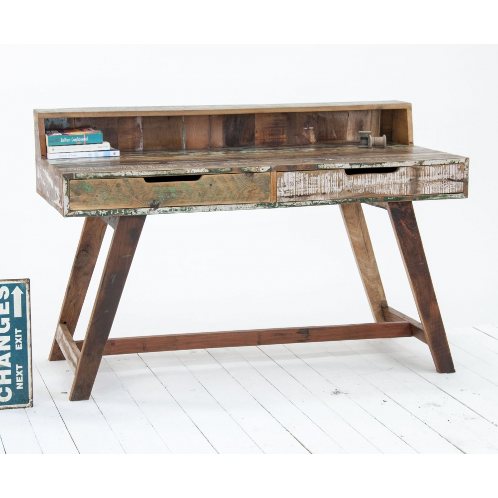 Driftwood reclaimed wood office furniture writing desk for Reclaimed wood furniture colorado
