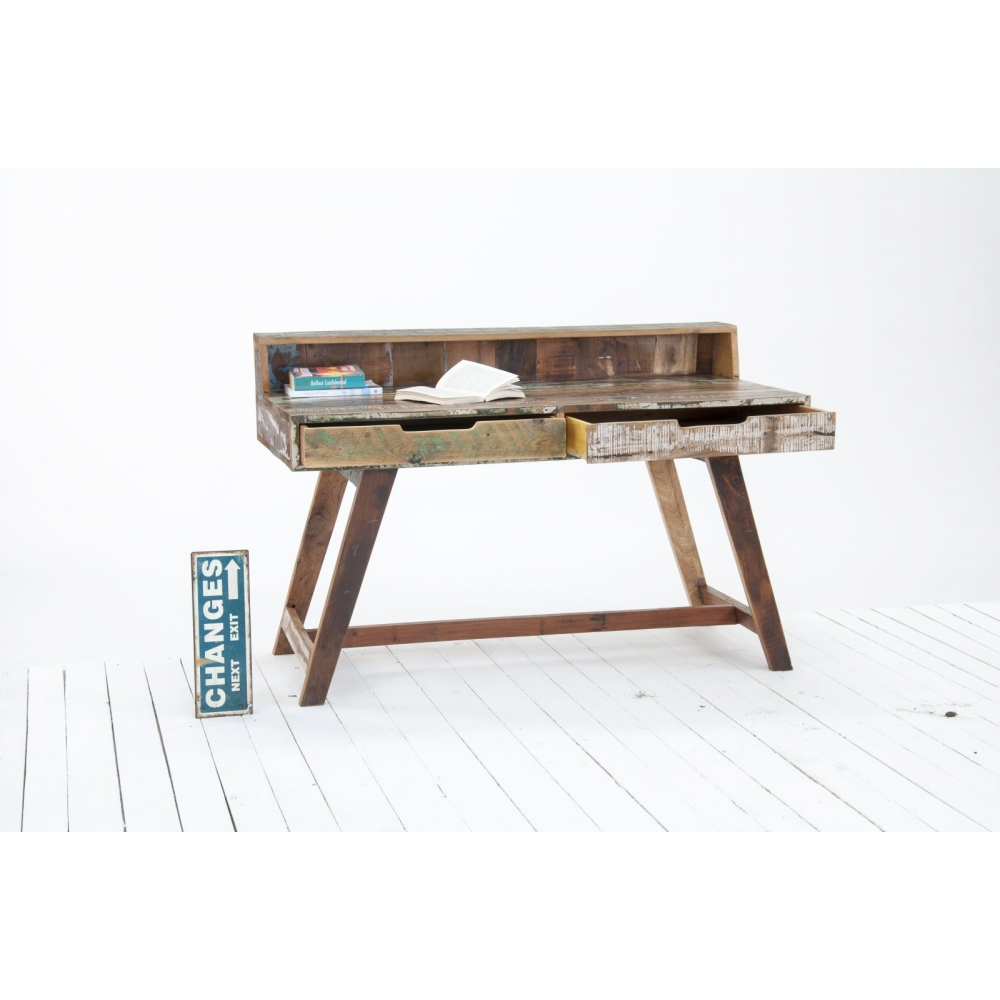 Driftwood reclaimed wood office furniture writing desk bureau ebay - Reclaimed wood office desk ...