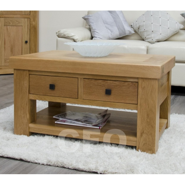 Phoenix Solid Oak Furniture Storage Coffee Table With Drawers Ebay