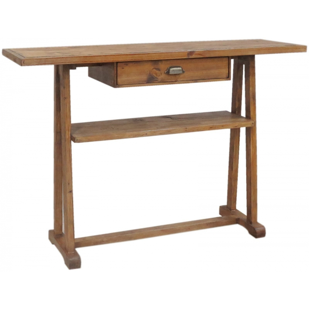 Salone reclaimed pine furniture hall console table with drawer ebay - Pine sofa table with drawers ...