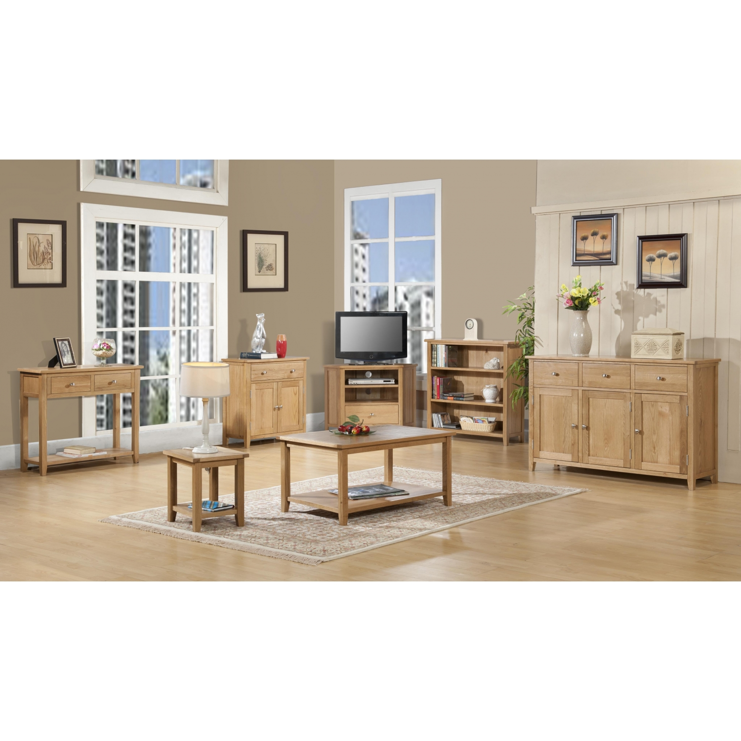 Easton oak living room furniture corner tv cabinet stand - Corner tables for living room online ...