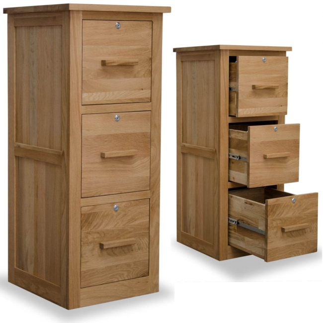 Arden solid oak office furniture large three drawer