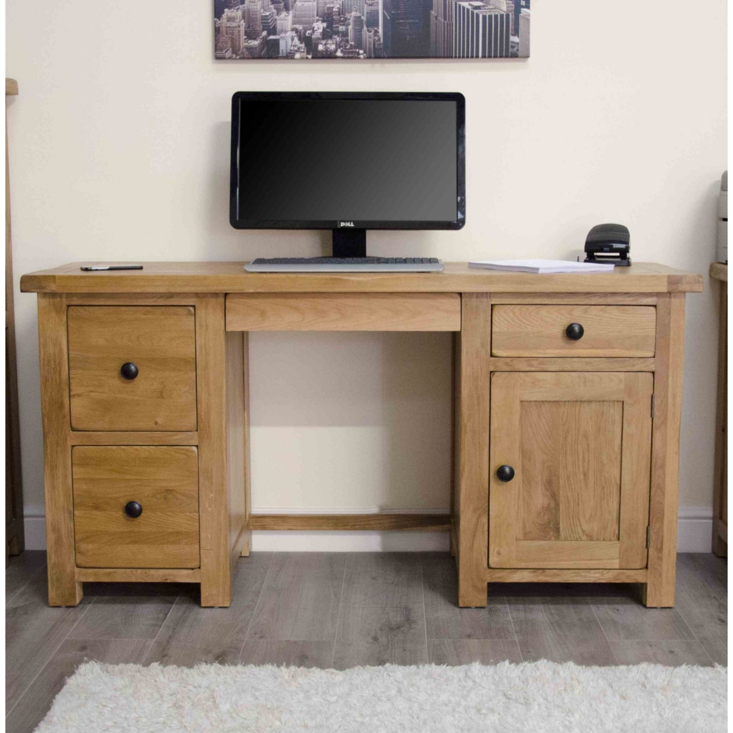 Original Rustic Solid Oak Twin Pedestal Computer Pc Desk Home Office Furniture Ebay