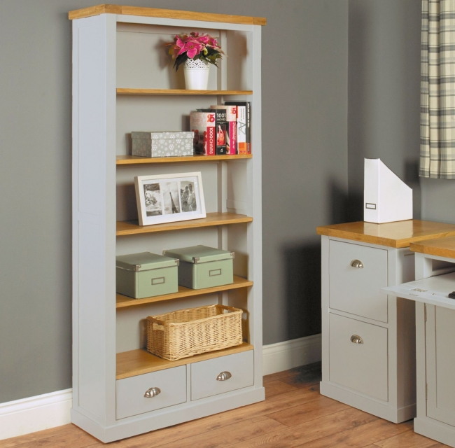 nara grey painted oak furniture large living room office bookcase