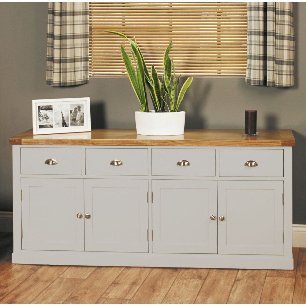 Chadwick grey painted oak furniture extra large four door for Painted buffet sideboard
