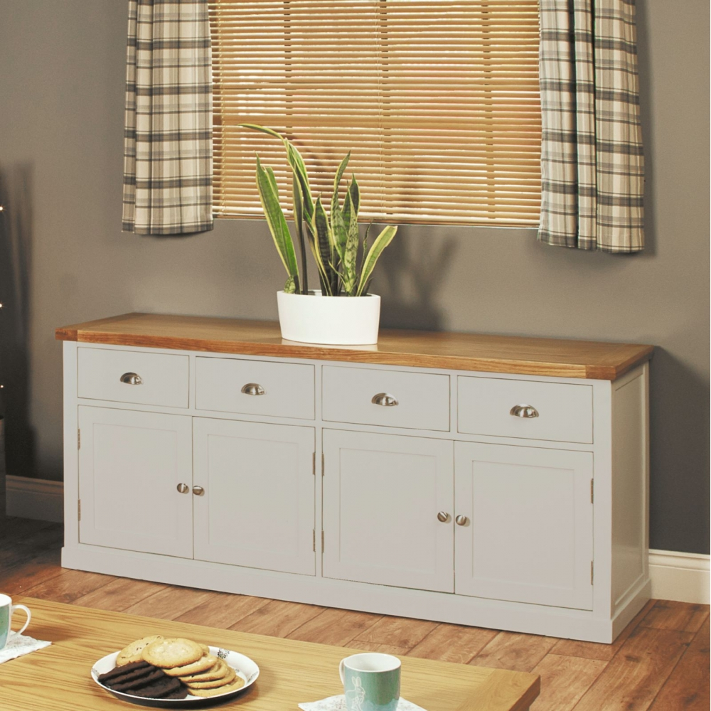 chadwick grey painted oak furniture extra large four door dining room sideboard chadwick satin lacquered oak hidden