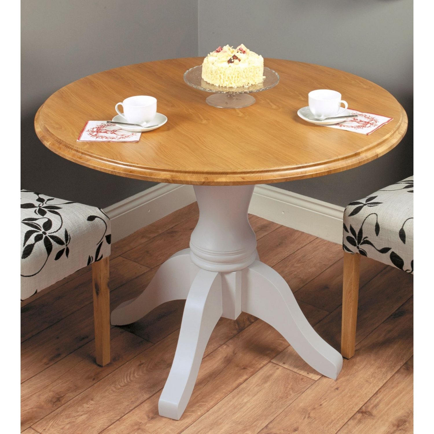Bedford grey painted oak furniture round dining table ebay for Painted round dining table and chairs