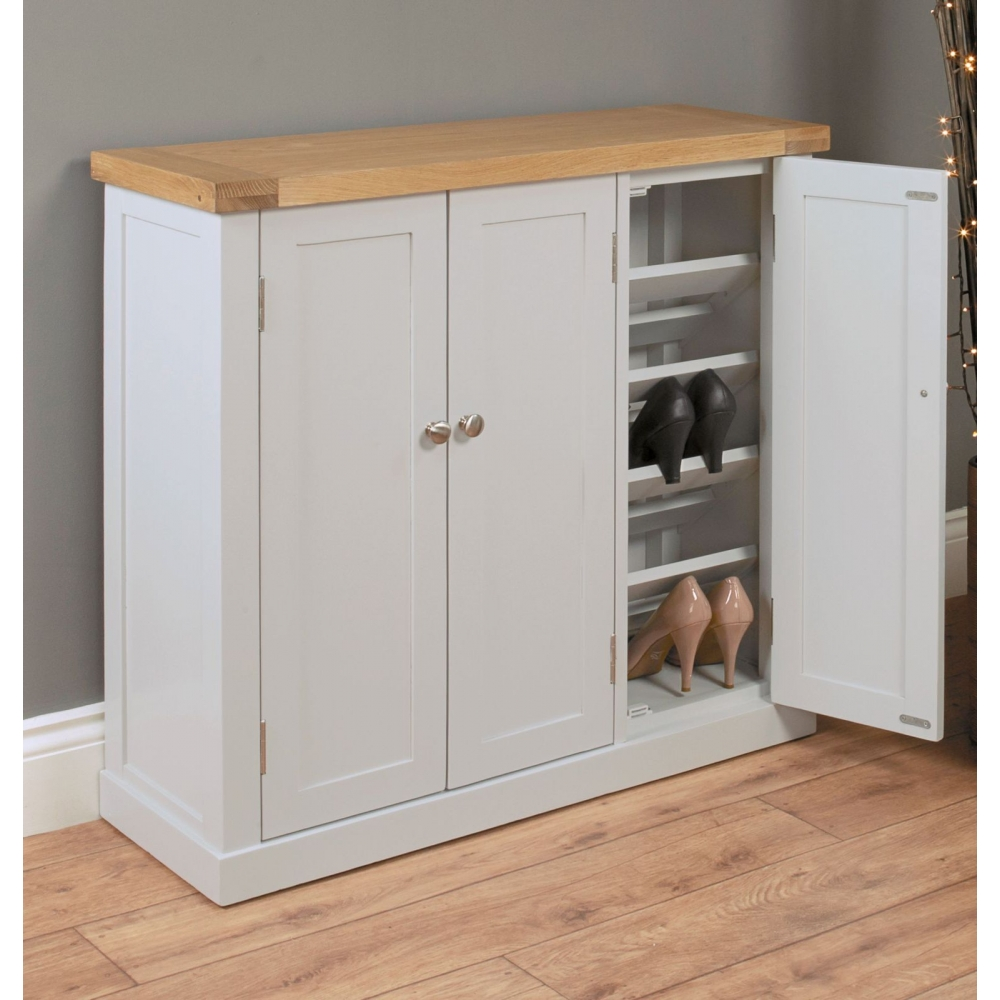 outstanding hallway cabinets furniture | Chadwick grey painted oak hallway furniture large shoe ...