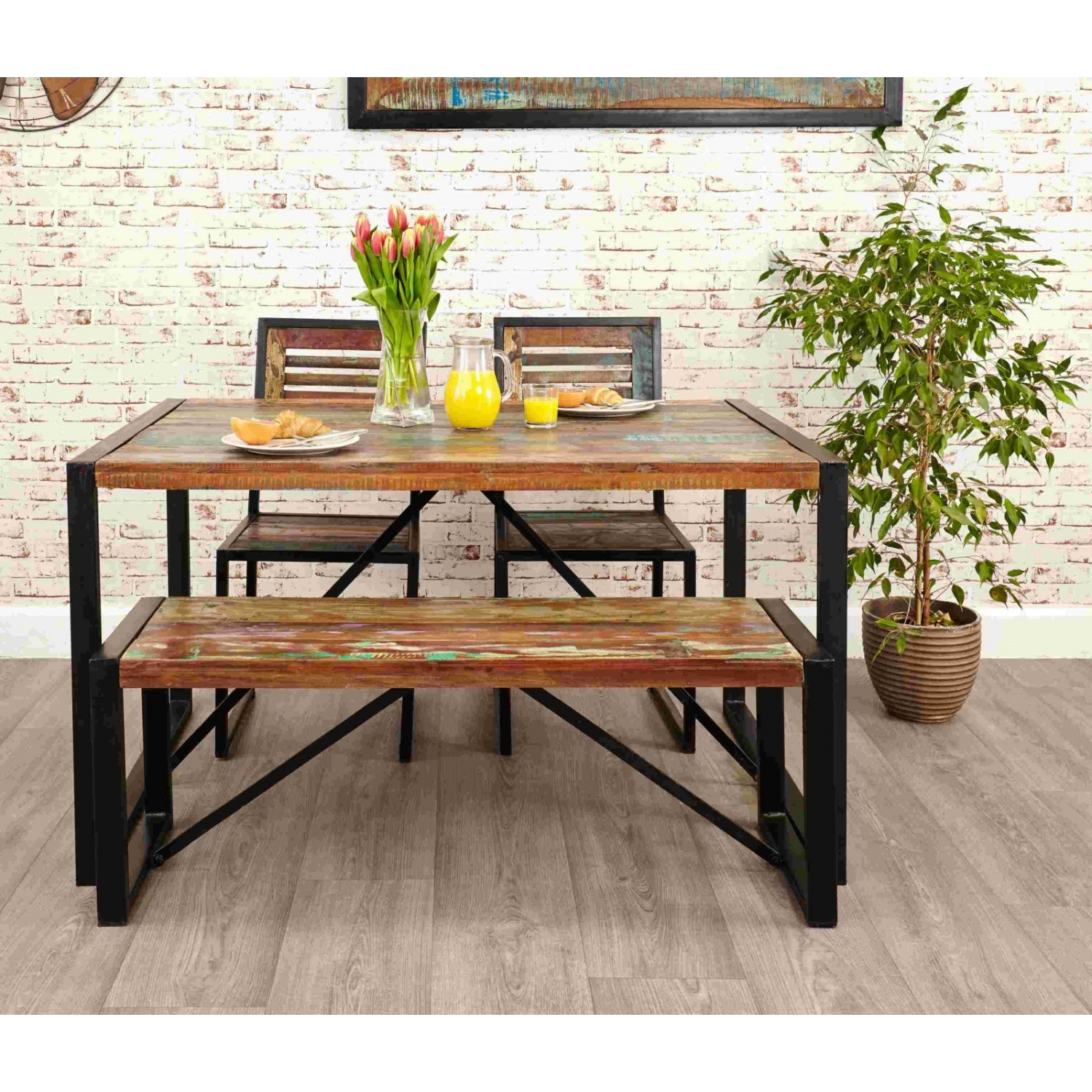 Ragana Reclaimed Timber Dining Table With Bench 3 Dining