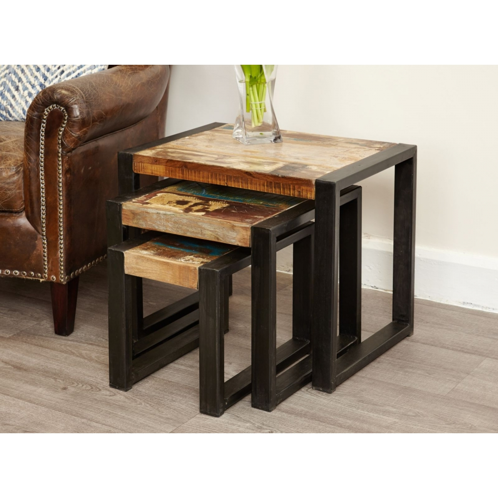 Urban Chic Reclaimed Indian Wood Furniture Nest Of Three