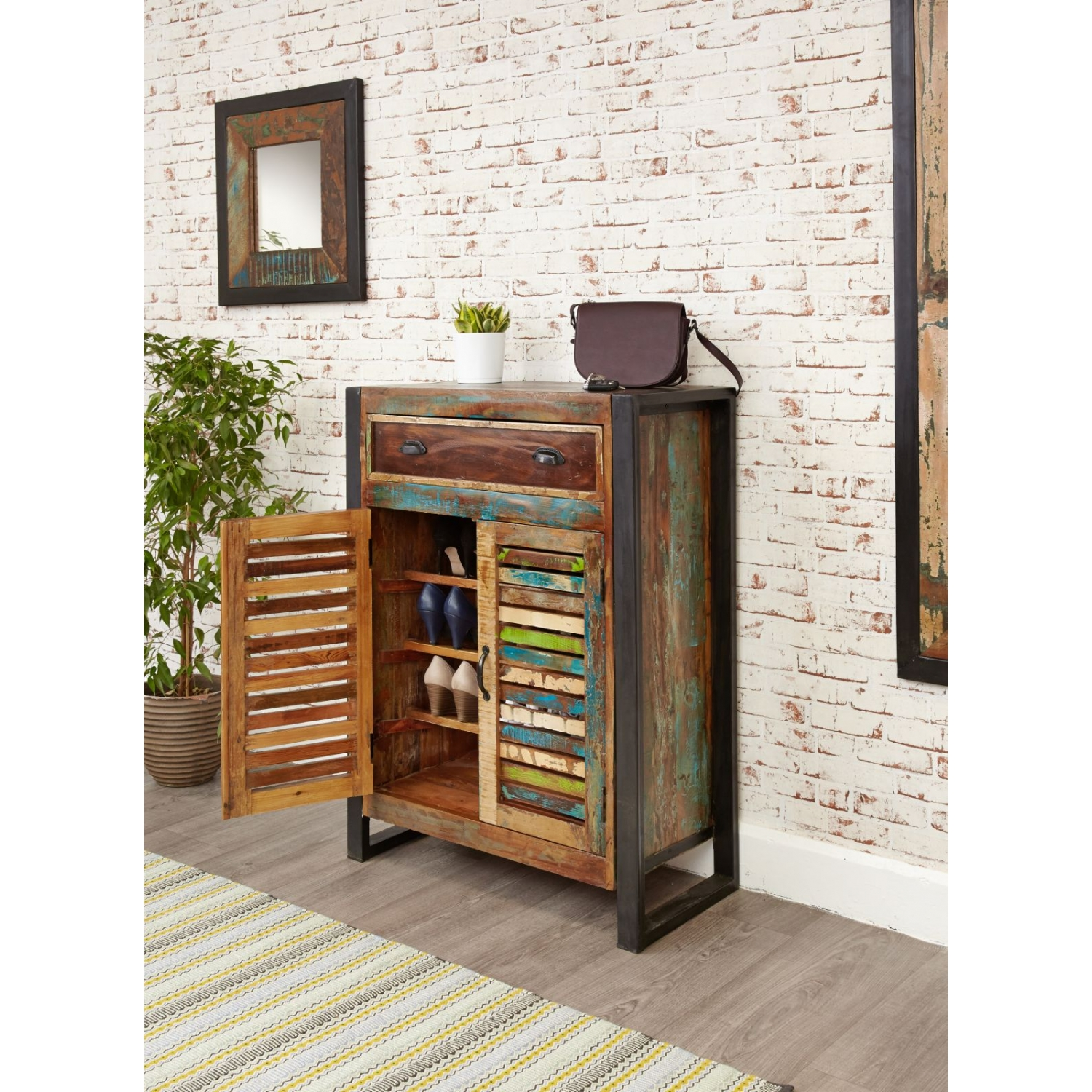 agra reclaimed wood furniture shoe storage cabinet cupboard rack