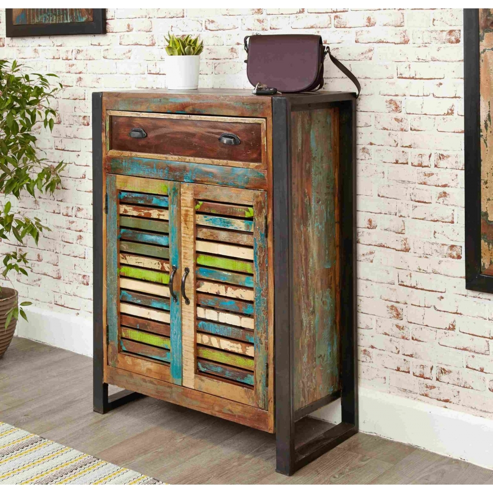 Urban chic reclaimed wood indian furniture shoe storage for Reclaimed wood furniture colorado