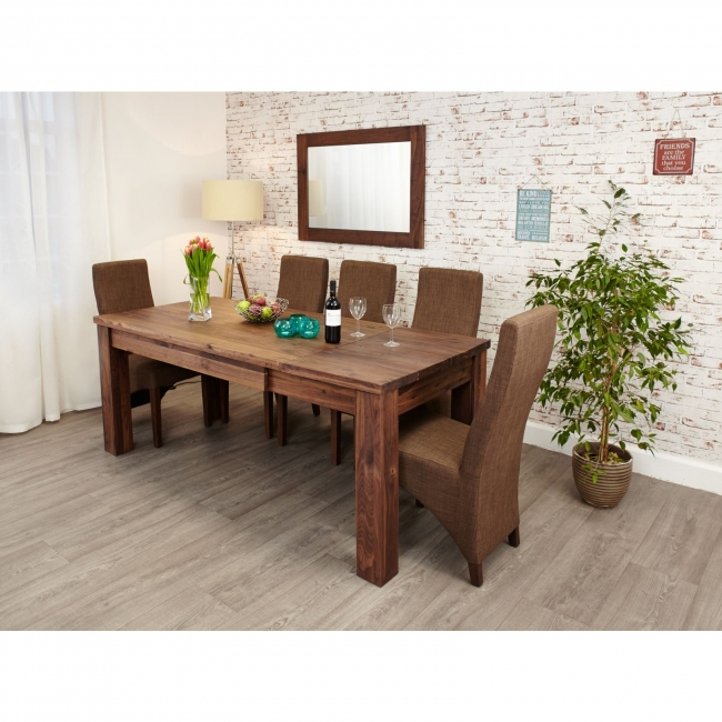 solid walnut dark wood home furniture large extending dining table