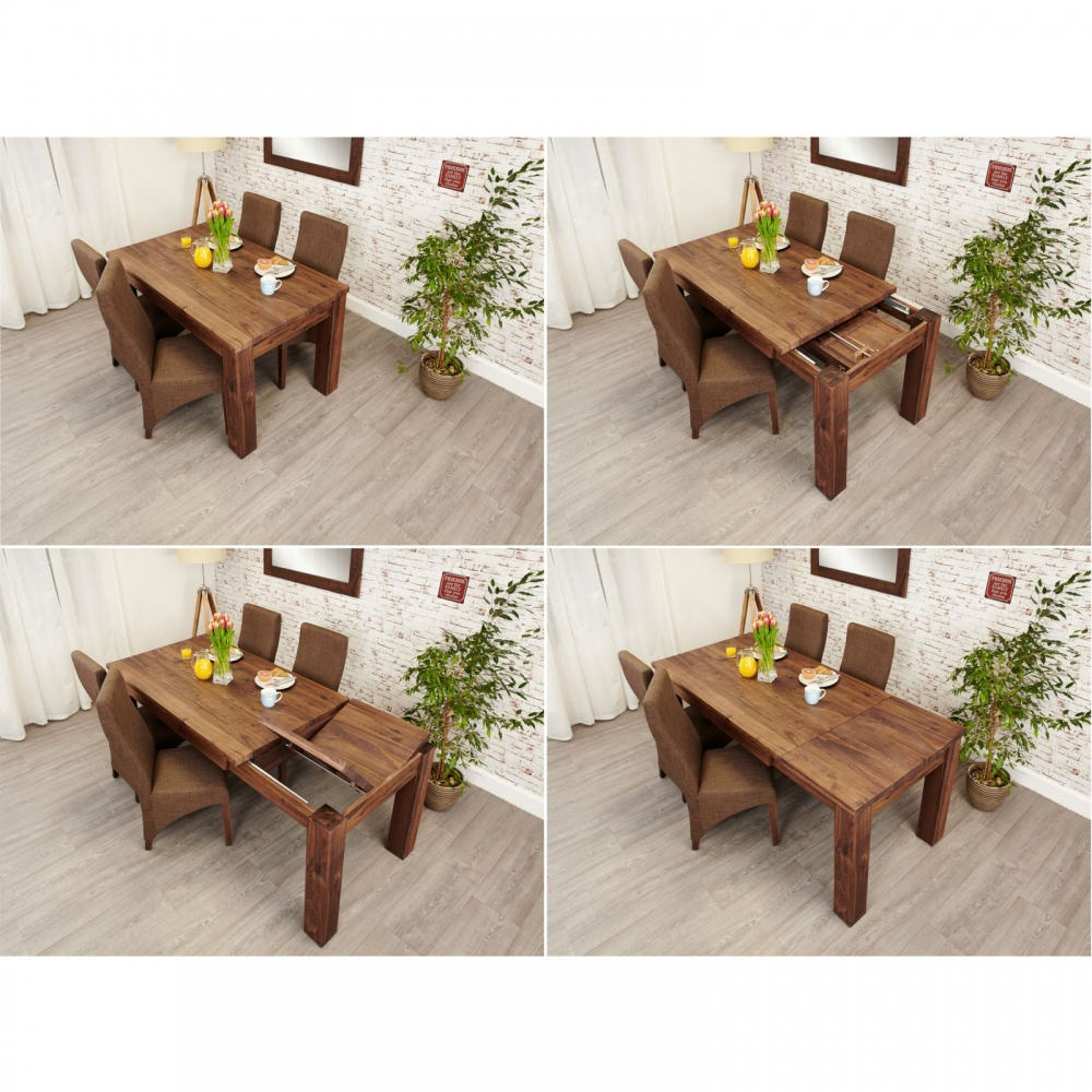 Mayan Solid Walnut Home Furniture Extending Dining Table And Six Chairs Set Ebay