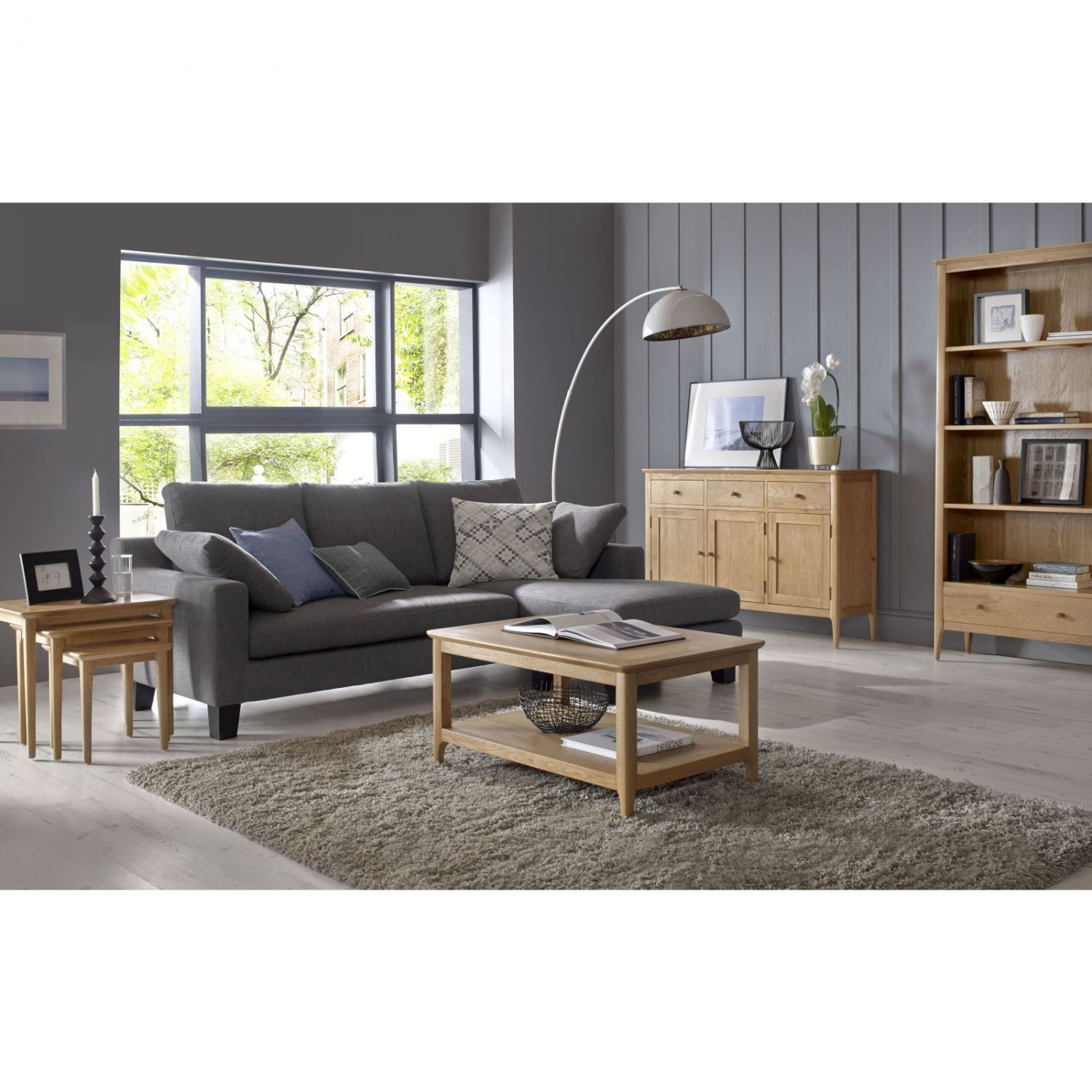 Telford solid oak furniture low living room office for Low living room furniture