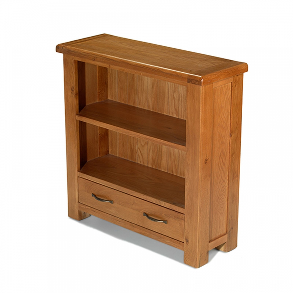 Melrose solid oak furniture small low bookcase with drawer for Small dresser drawers